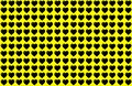 Black Heart Shape on Yellow Background. Hearts Dot Design. Can be used for Illustration purpose, background, website, businesses,
