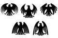 Black heraldic eagles for tattoo and heraldry design Stock Image