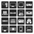 Black Hi-tech equipment icons Royalty Free Stock Photo