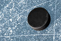 Black hockey puck Royalty Free Stock Photo