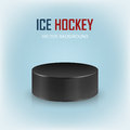 Black hockey puck on ice rink - vector background. Royalty Free Stock Photo