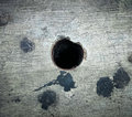 Black hole in cracked floor concept close up symbol Stock Photography