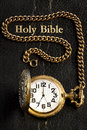 Black Holy Bible & Pocket Watch Royalty Free Stock Photo