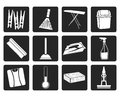 Black Home objects and tools icons Royalty Free Stock Photo