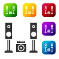 Black Home stereo with two speaker s icon isolated on white background. Music system. Set icons in color square buttons Royalty Free Stock Photo
