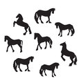 Black Horse Silhouette Set Vector Illustration Royalty Free Stock Photo