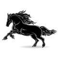 Black horse and white graphic stylized image of a a symbol of runs forward Royalty Free Stock Photos