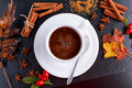 Black hot coffee in white cup with anis stars brown sugar and cinnamon sticks on stone board autumn theme Stock Images
