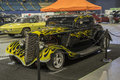 Black hot rod with yellow flames Royalty Free Stock Photo