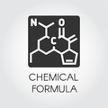 Black icon of chemical formula in flat style. Medicine, science, biology, chemistry theme. Vector label Royalty Free Stock Photo