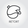 Black icon of retort drawing in outline style