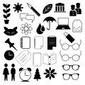 Black icon set a of icons of a variety of objects Royalty Free Stock Image