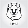 Black icon style line art, head wild animal lion. Royalty Free Stock Photo