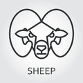 Black icon style line art, head wild animal sheep, ram.