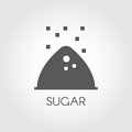 Black icon of sugar bunch. Label drawing in flat style for culinary theme. Vector illustration