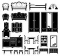 Black icons of furniture Royalty Free Stock Photo