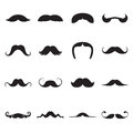 Black icons of moustaches isolated on a white background Royalty Free Stock Photo