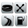 Black icons for repairs four different in grey squares Royalty Free Stock Images