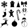 Black icons set for Christmas on white background