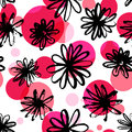 Black ink floral pattern with red and pink spots