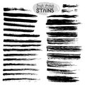 Black ink stains and strokes. Vector set of grunge brush strokes. Royalty Free Stock Photo
