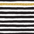 Black ink and white, gold vector seamless fat stripes pattern. Royalty Free Stock Photo