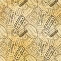 Black International travel visa rubber stamps imprints on old paper, seamless pattern