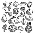 Black isolated vegetables fruits doodle icons and on white background vegetarian sketch set Royalty Free Stock Photos