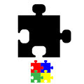 Black jigsaw or puzzle icon. Royalty Free Stock Photo