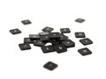 Black keyboard button pile isolated over the white background shallow depth of field Stock Photography