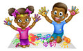 Black Kids PLaying With Paints Royalty Free Stock Photo