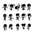 Black kids silhouettes Royalty Free Stock Photography