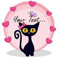 Black kitten with hearts Royalty Free Stock Photo