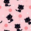 Black kitten with knitting yarn seamless pattern Royalty Free Stock Photo