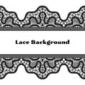 Black lace background realistic horizontal with seamless borders on white Royalty Free Stock Images