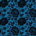 Black lace flower on blue vector illustration Stock Photos