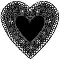 Black Lace Heart Doily on White Background Royalty Free Stock Photo