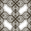 Black lace seamless pattern on white dackground floral Stock Image