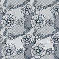 Black lace vector fabric seamless pattern with flowers Royalty Free Stock Image