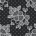 Black lace vector fabric seamless pattern with flowers Stock Photography