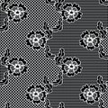 Black lace vector fabric seamless pattern with flowers Royalty Free Stock Photography