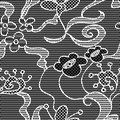 Black lace vector fabric seamless pattern with flowers Royalty Free Stock Photos