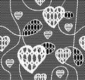 Black lace vector fabric seamless pattern with hearts Stock Photo