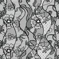Black lace vector fabric seamless pattern with lines and waves Stock Image