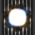 Black lacy vintage frame with shining lights on striped silver background Royalty Free Stock Photo