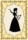 Black lady silhouette in vintage frame with flower motif in art deco style.