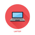 Black laptop notebook with blank screen flat style icon. Wireless technology, portable computer sign. Vector