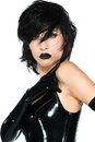 Black latex tall slender woman dressed in Stock Photos