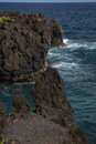 Black lava cliffs of Maui Hawaii Royalty Free Stock Photo