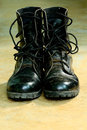 Black Leather Army Boots Royalty Free Stock Images